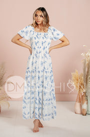 Kennzie Sky Blue Bubble Sleeve Water Color Floral Maxi - DM Exclusive