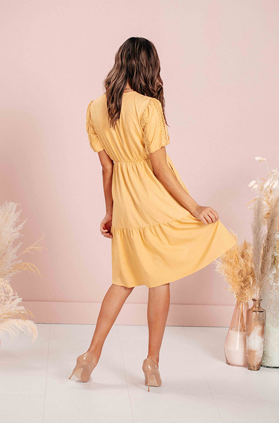 Kaylee Lemon Yellow Embroidery Midi Dress