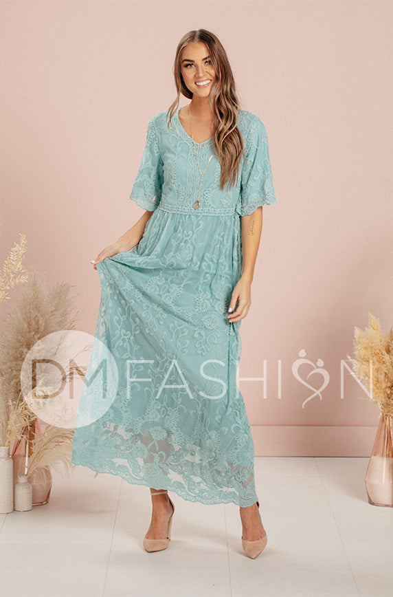 Aspen Blue Grass Lace Dress - DM Exclusive