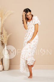 Kennzie Canyon Rose Bubble Sleeve Water Color Floral Maxi - DM Exclusive
