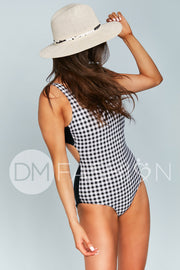 Scoop Neck Back Tie One Piece - Black Gingham