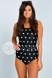 Sailor Back One Piece - Black Polka Dot