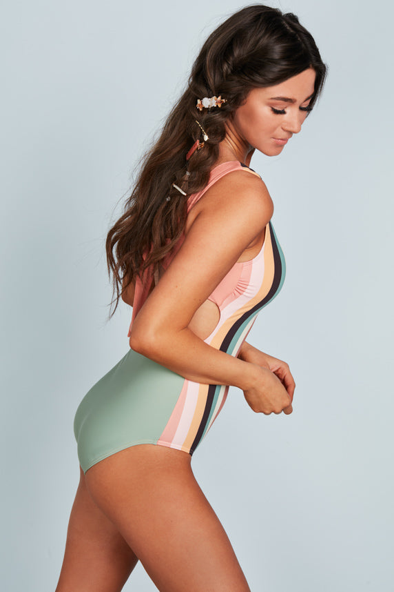 Scoop Neck Back Tie One Piece - Desert Stripes