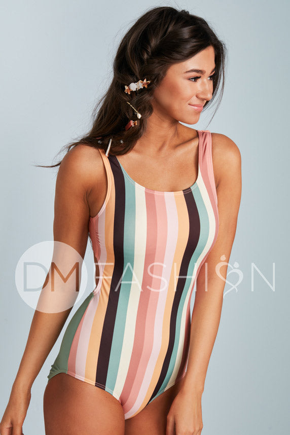 Scoop Neck Back Strap One Piece - Desert Stripes