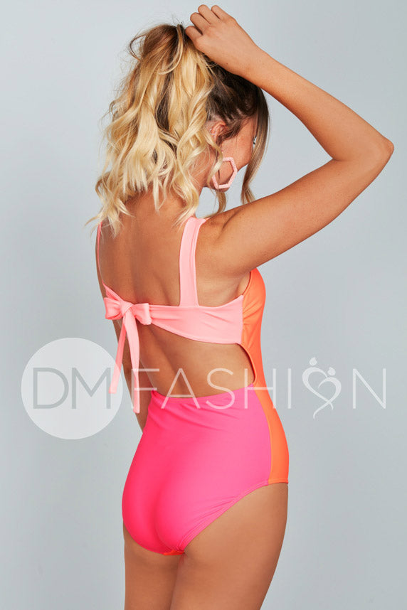 Scoop Neck Back Tie One Piece - Neon Color Block