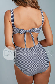 Scoop Neck Back Tie One Piece - Navy Lilly Stripes