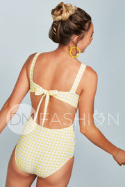Scoop Neck Back Tie One Piece - Victorian Garden Gingham
