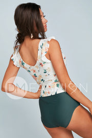 Ruffle Back V Midkini Top - Desert Floral