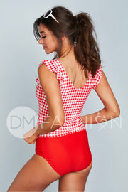 Ruffle Back V Midkini Top - Cherry Red Gingham