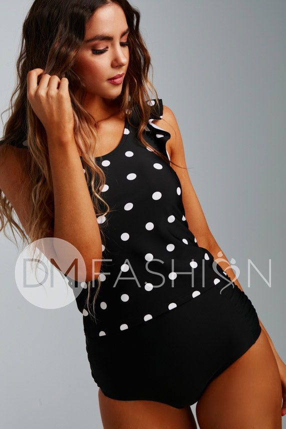 Ruffle Back V Midkini Top - Black Polka Dot