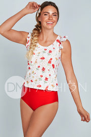Ruffle Back V Midkini Top - Cherry Red Blossoms