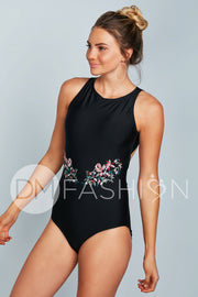High Neck Contrast Back One Piece - Black Embroidery - FINAL SALE