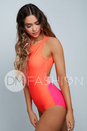 High Neck Contrast Back One Piece - Neon Color Block