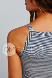 Textured Midkini Top - Navy Blue Stripes