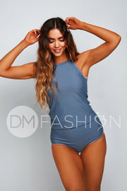 Embroidery Midkini Top  - Ash Blue
