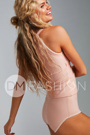 Embroidery Midkini Top - Seashell Pink