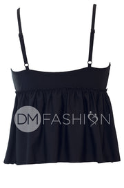 V Peplum Tankini - Black RESTOCKED - DM Fashion