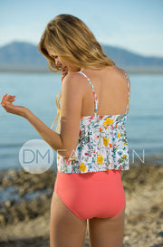 V Peplum Tankini - Sunny May Floral RESOCKED - DM Fashion