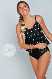 V Peplum Tankini Top - Black Polka Dots