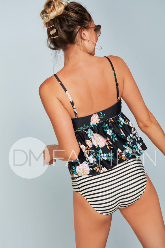 V Peplum Tankini Top - Black Retro Floral