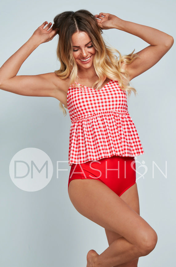 V Peplum Tankini Top - Red Gingham