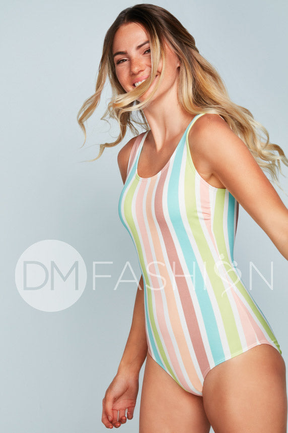 Scoop Neck Back Strap One Piece - Sherbet Stripes