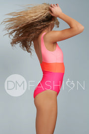 Color Block One Piece - Neon
