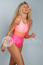 Color Block One Piece - Neon - Restocked