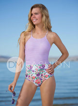 Sailor Back One Piece  - Purple Stripe Floral - DM Fashion