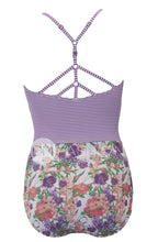 Sailor Back One Piece  - Purple Stripe Floral