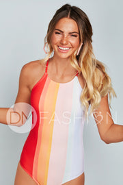 Sailor Back One Piece - Rainbow Water Colors