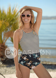 Sailor Back One Piece - Retro Stripe Floral RESTOCKED - DM Fashion