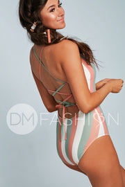 Lace Up One Piece - Paradise Stripes