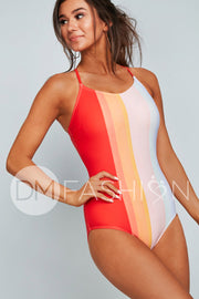 Lace Up One Piece - Rainbow Water Colors