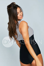 Square Neck Color Block One Piece - Black Stripe