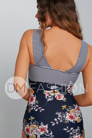 Square Neck Color Block One Piece - Navy Lilly Stripes