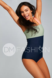 Square Neck Color Block One Piece - Paradise