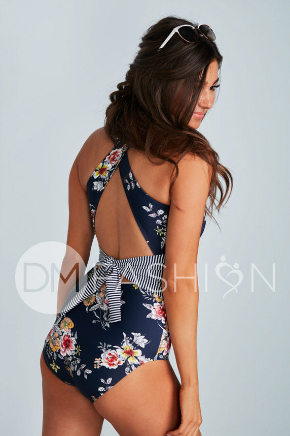 Scoop Neck Cross Back One Piece - Navy Lilly Stripes