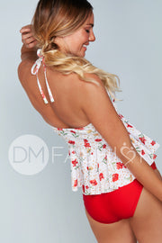 High Neck Peplum Halter Top - Cherry Red Blossoms