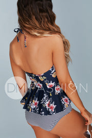 High Neck Peplum Halter Top - Navy Lilies