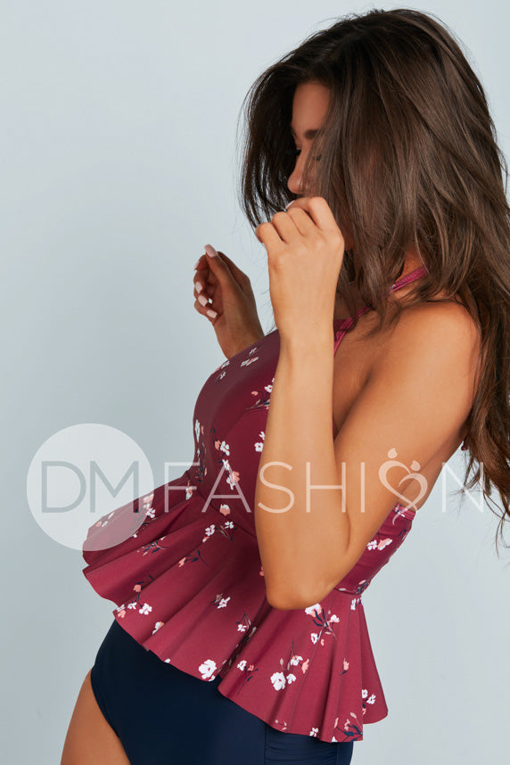 High Neck Peplum Halter Top - Red Plum Daisies