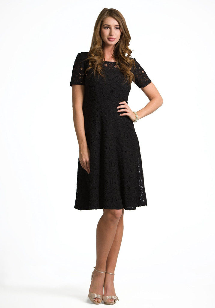 Madlyn Soft Crochet Lace Dress in Black - DM Fashion