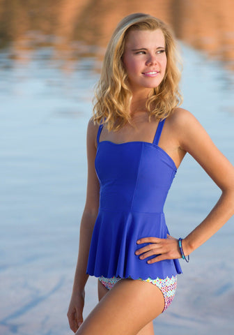 Scalloped Peplum Tankini - Royal Blue