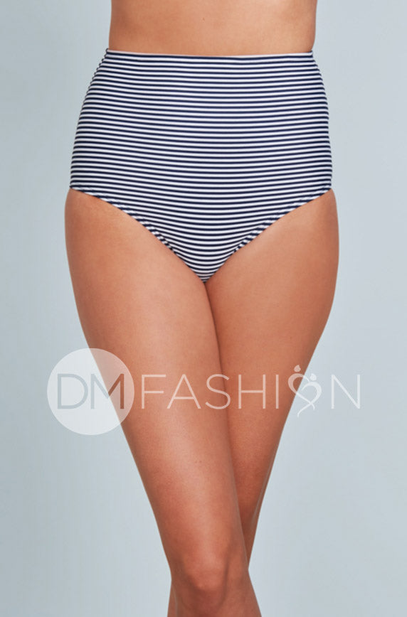 High Waisted Bottom - Navy Stripes