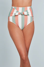 Front Tie High Waist Bottom - Paradise Stripes