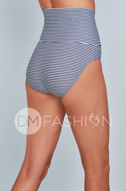 Banded Midrise Bottom - Navy Stripes