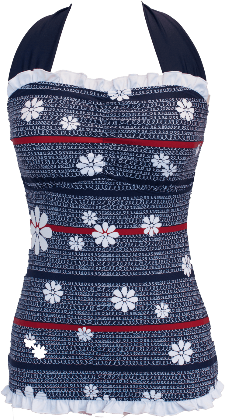 Ruffle Square Halter - Nautical Flower Loops - FINAL SALE - DM Fashion