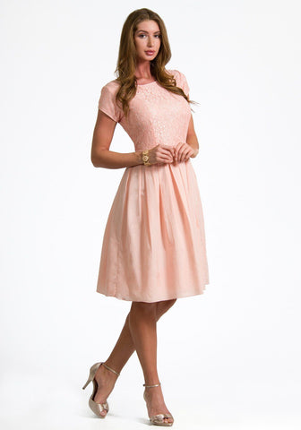 Alyssa Lace Box Pleat Dress in Soft Peach