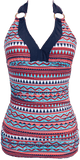 V-Ruched Halter - Nautical Aztec - FINAL SALE