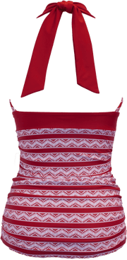 V-Ruched Halter - Red Chevron Aztec - FINAL SALE - DM Fashion